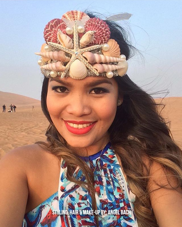 Pre-wedding make-up look, Sea shells Tiara, desert photoshoot