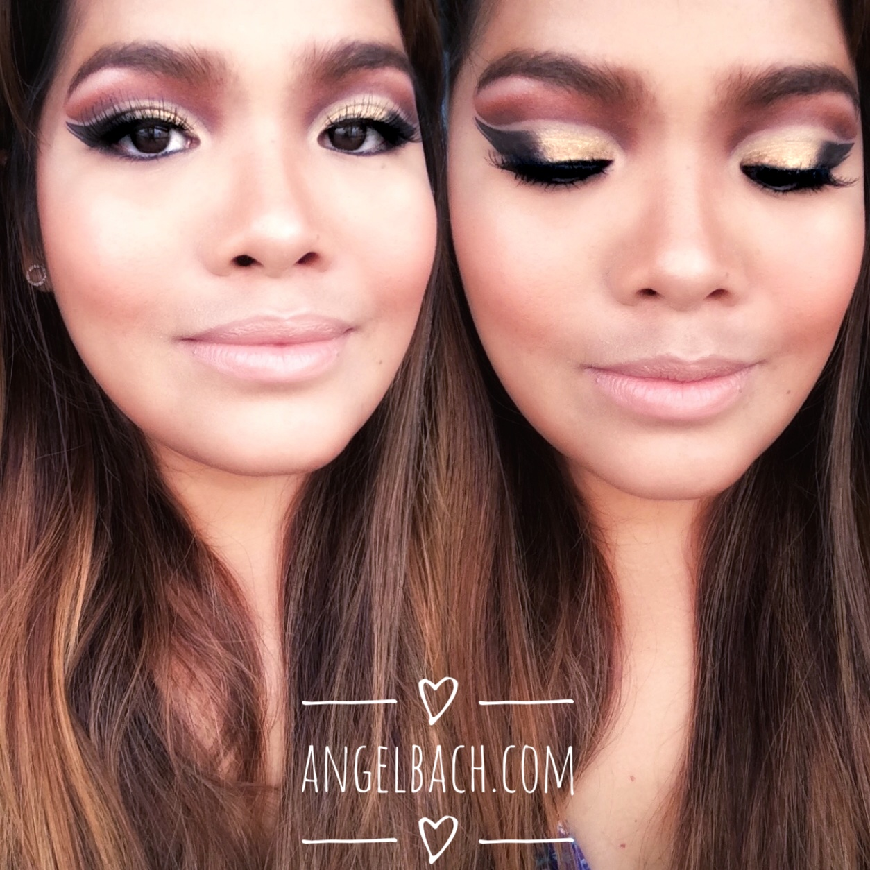 Double Cut crease, Arabic Look, Gold eyeshadow, copper eye look, nude lipstick, angel bach artistry, makeup artist