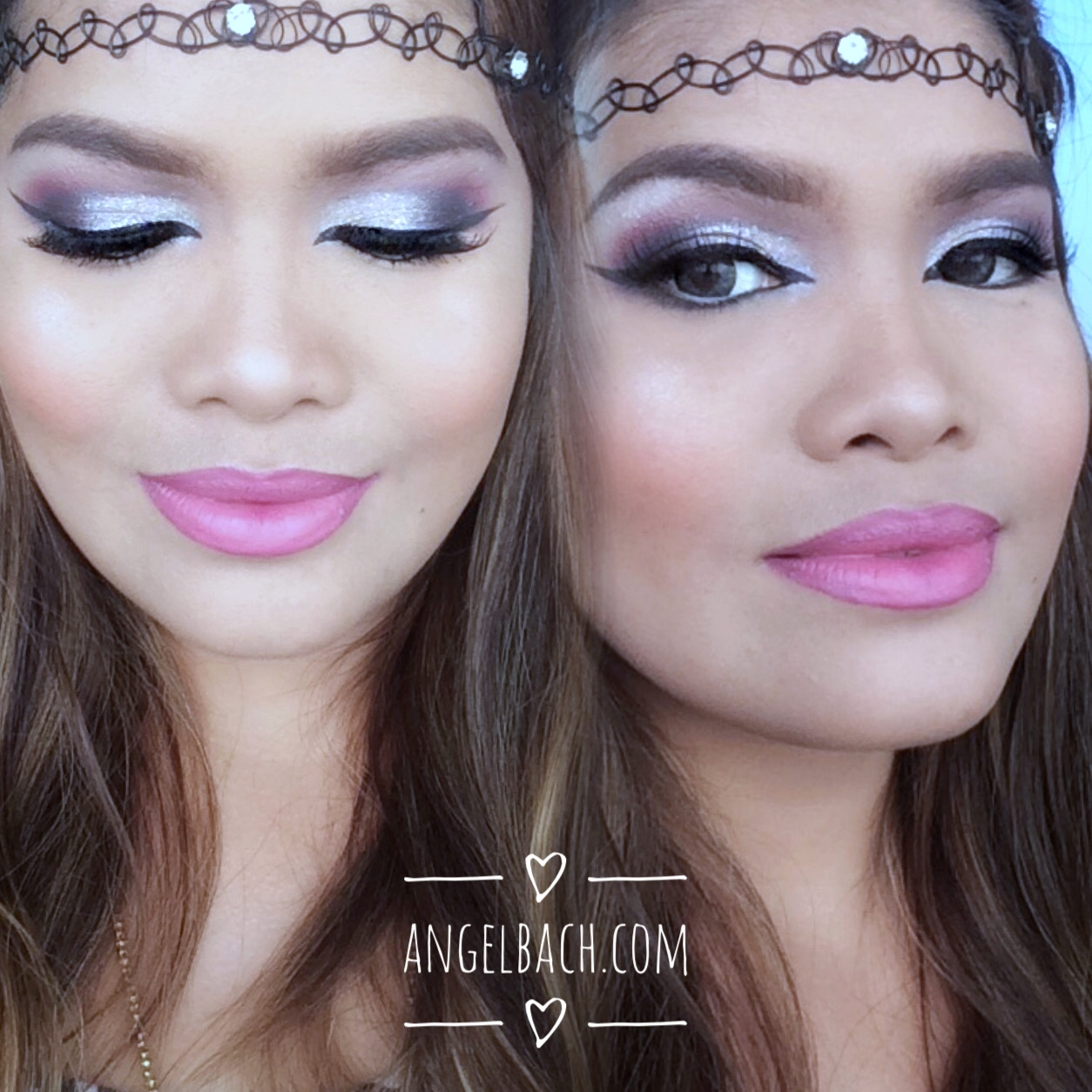 Arabian look, half cut crease, silver crease, pink lipstick, cat eye, wing eyeliner, angel bach artistry, makeup artist