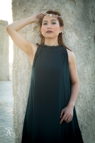 The Ruins Dubai, Bohemian, Boho Beach, Green Chiffon Maxi Dress, Jumeirah open beach, Fashion Photography, Lady Portraits, Asian Model