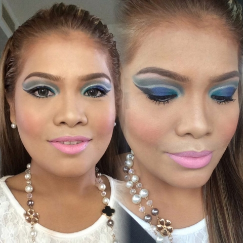 Double Cutcrease, Arabian Makeup look, Blue eyeshadow makeup, Makeup Tutorial, Pink Lipstick, Party Look, Evening Look, Angel Bach Artistry, Pinay Makeup Artist
