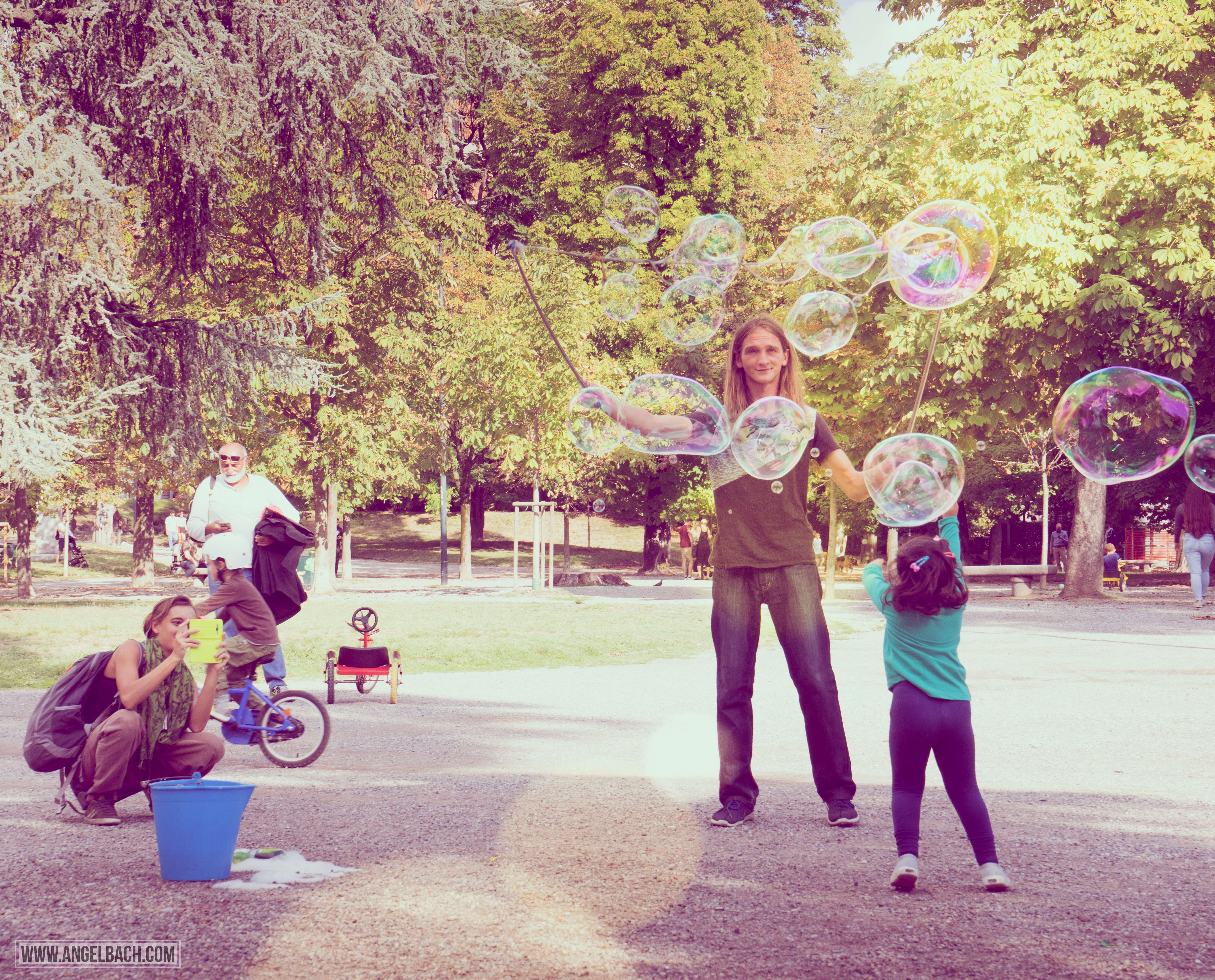 Milan, Park, Kids, playing, bubbles, Bubble Man, Nature, Italy, Photography