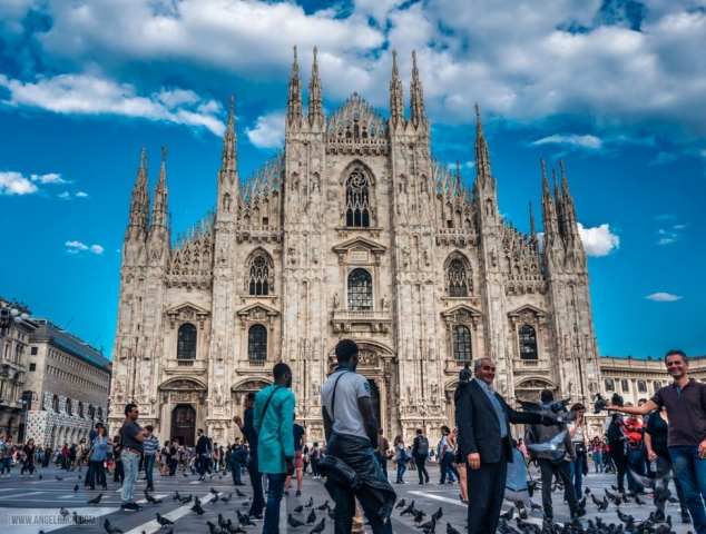 Milan, Duomo Cathedral, Church, Architecure, Photography, Front View, Cloudscape Milan