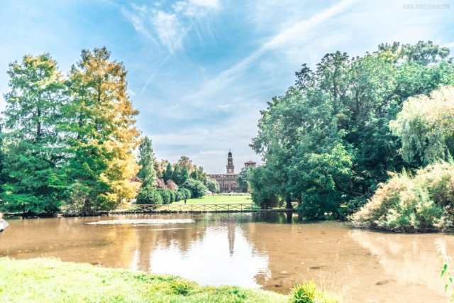 Milano, Park, Palace, pond, nature, reflection, trees, Italy