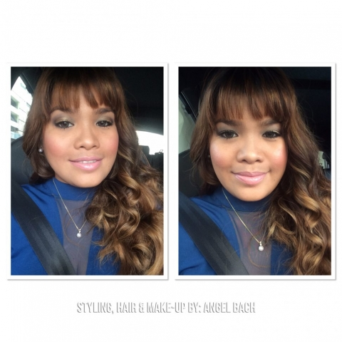 Angel Bach Party Make Up, Curly Hair, Glamour Look, Smokey Gold Eye, Bangs