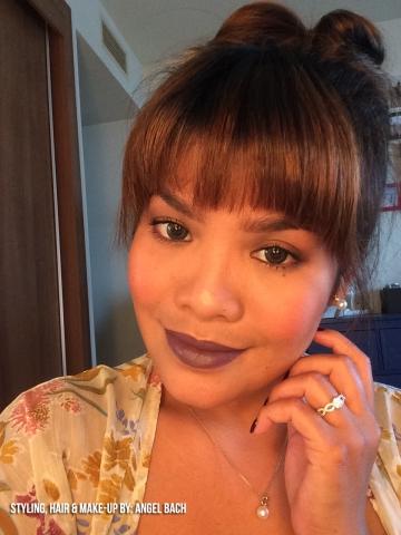 30 Min Hair and Make up, Fresh look, Dark brown Lipstick, ribbon bun hair, bangs, infinity ring, pearl earings, pearl necklace
