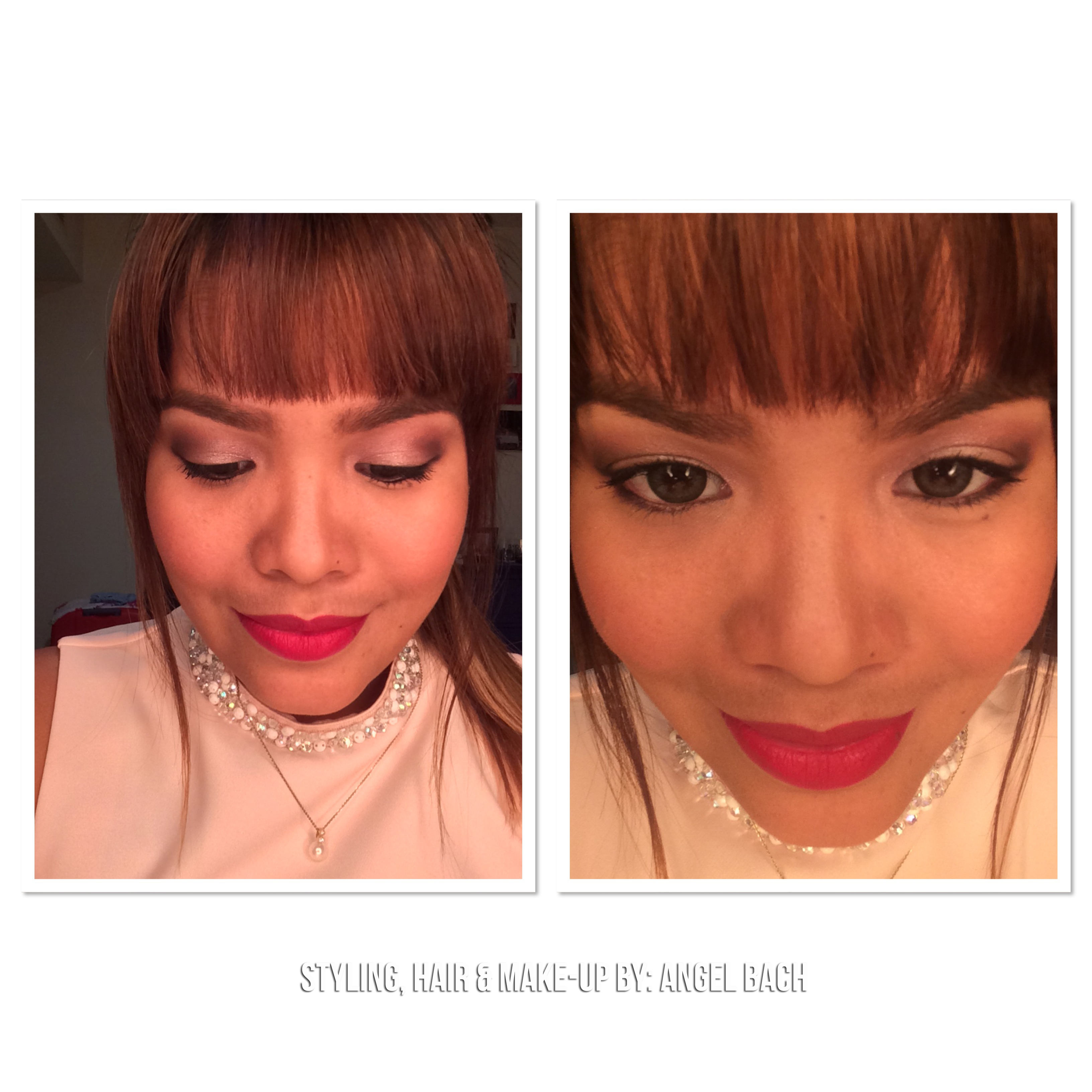 Smokey Eye Shimmery, Thick Eyebrows, bangs, peachy look, edgy look, red lipstick, date night look,