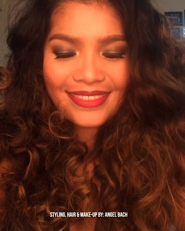 Dark Smokey Eyeshadow, Curly Big Hair, Red Lipstick