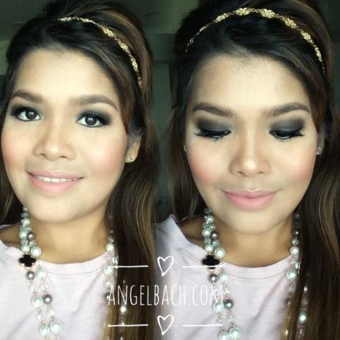 black glam, nude lipstick, smokey eye look, evening look, angel bach artistry, makeup artist