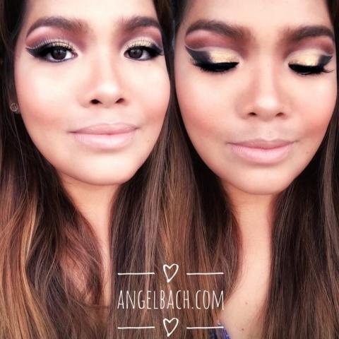 Double Cut crease, Arabic Look, Gold eyeshadow, copper eye look, nude lipstick, angel bach artistry, makeup artist