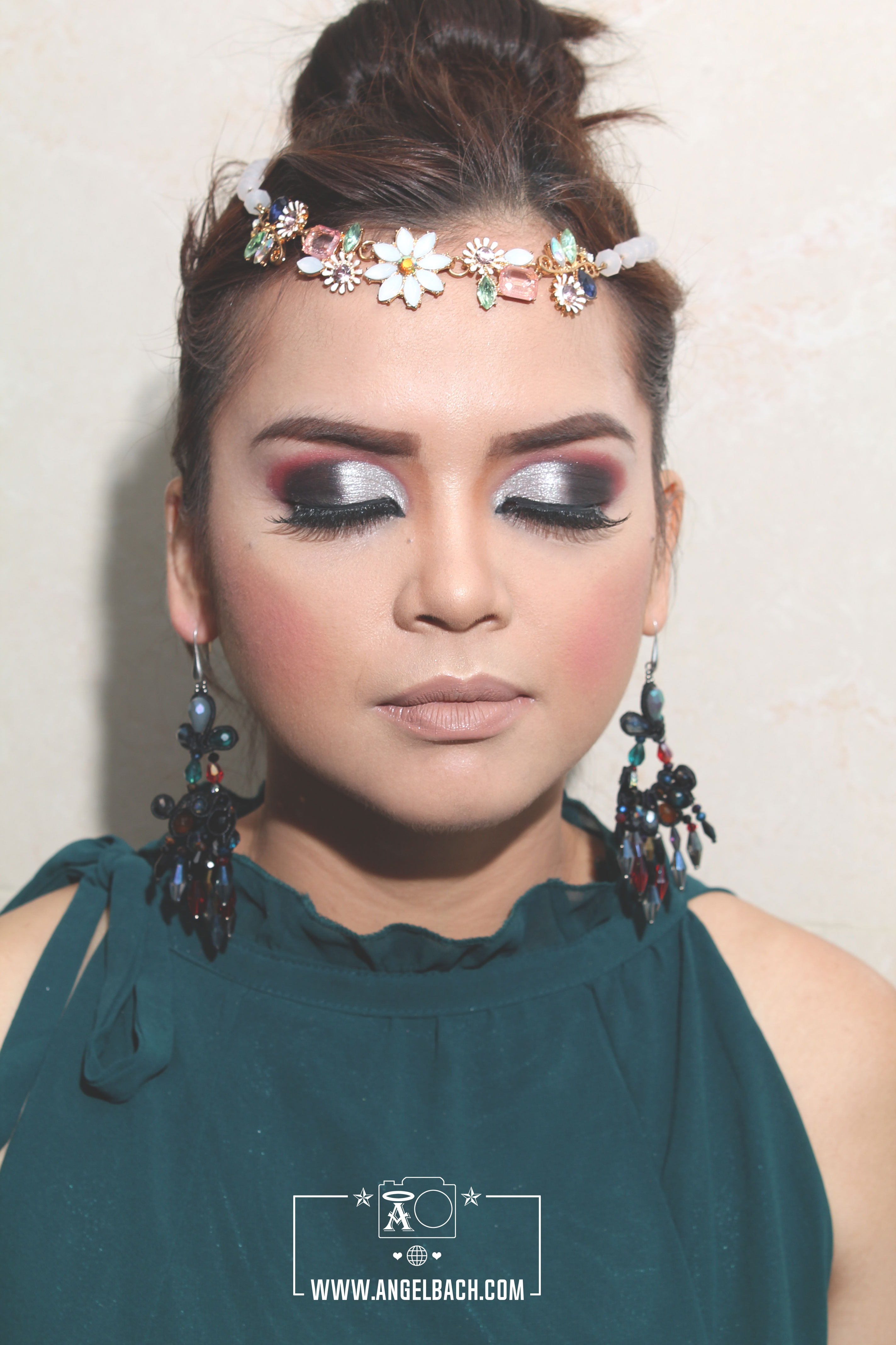 Arabic Look, Half Cut Crease, Pink and Silver Eyeshadow, Arabic Bridal Look