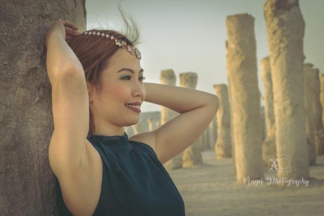 The Ruins Dubai, Bohemian, Boho Beach, Green Chiffon Maxi Dress, Jumeirah open beach, Fashion Photography, Lady Portraits, Asian Model