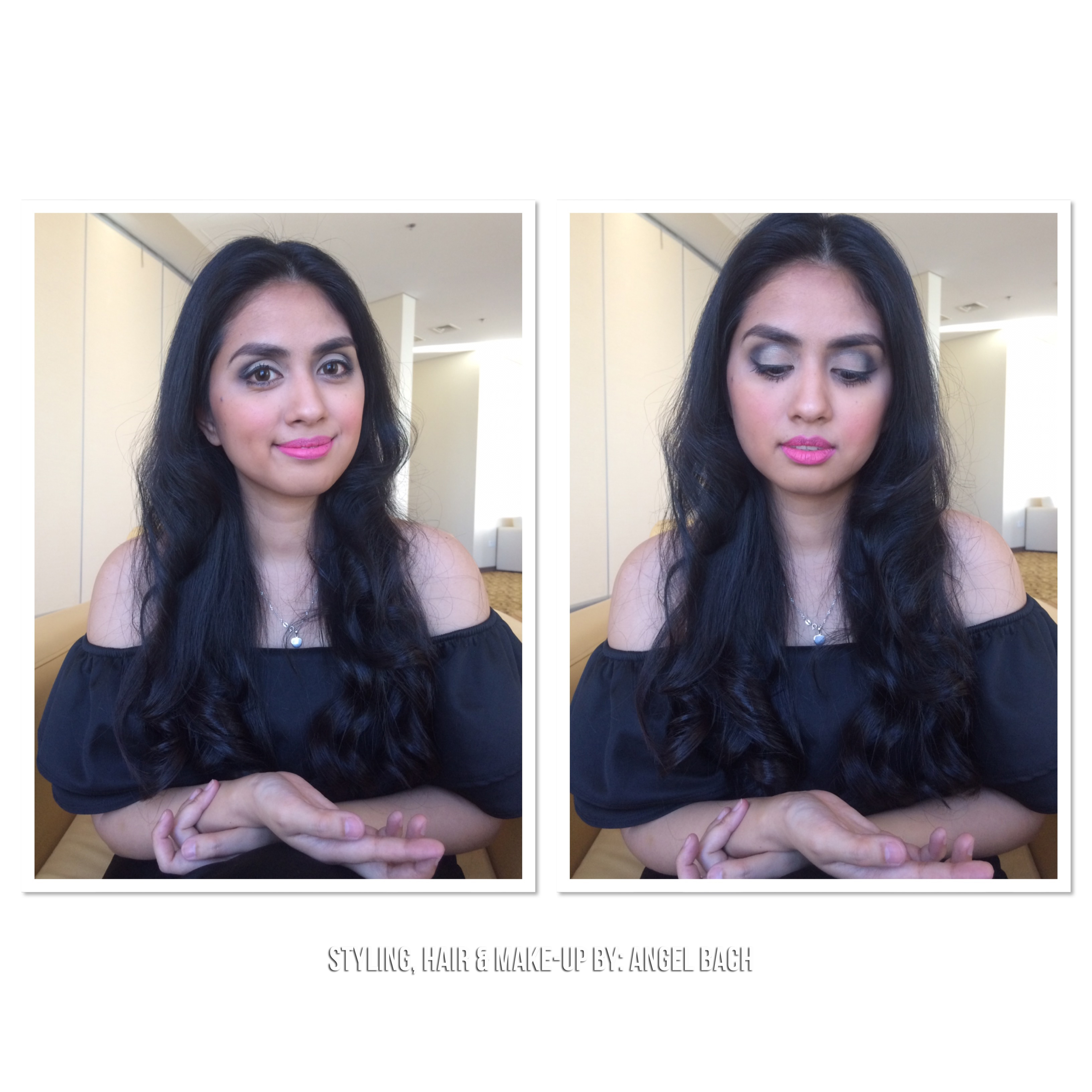 Arabian Look, Long Hair, Glamour Look, Half Cut Crease Eyeshadow, Pink Lipstick, Full Make-up