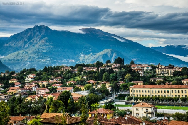 Landscape, Lake Como, Nature, houses over the mountain, Italy, Bellagio
