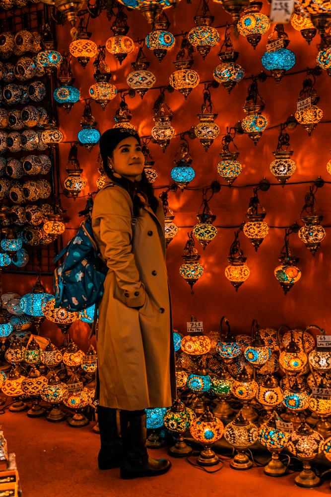 Blogger at Grand Bazaar, Inside Grand Bazaar, Products at Grand Bazaar, Lanterns at Grand Bazaar